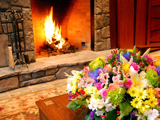 Fireplace Flower Livingroom