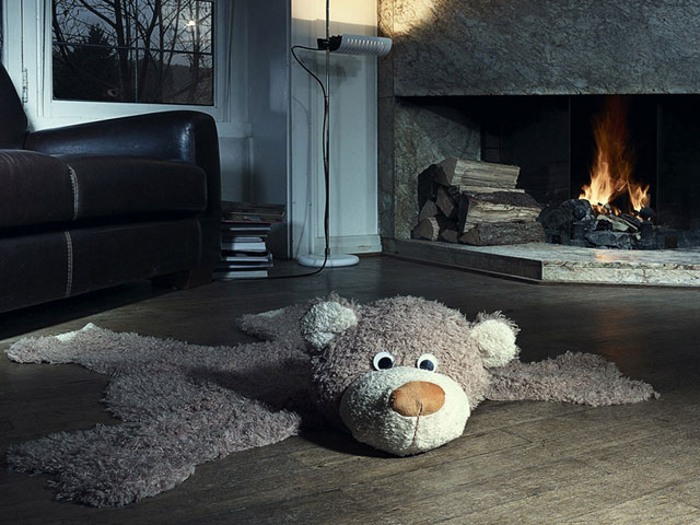 Fireplace Bear Livingroom